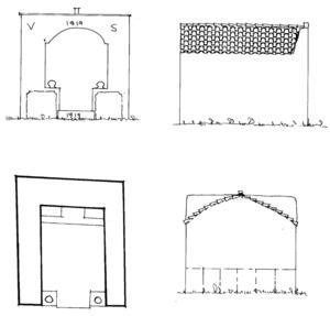 Plànol de planta i alçats de la capella del puig d´en Serra. Extret de<em> Quatre capelles eivissenques de devoció popular</em>.