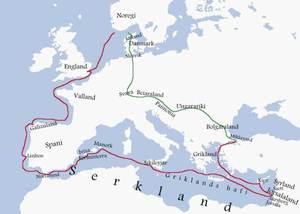 Ruta que va seguir el rei de Noruega Sigurd I Magnusson en el seu viatge a Terra Santa, amb aturada a Formentera.