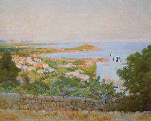 Rigobert Soler Pérez. Vista de Santa Eulària des Riu, oli sobre tela (1943), 75 x 90 cm. Extret de <em>Rigoberto Soler de cerca</em>.