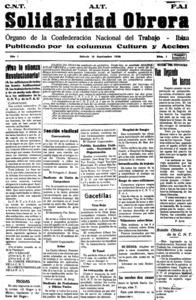 Portada de l´únic exemplar de Solidaridad Obrera editat, corresponent al 12 de setembre de 1936. Arxiu Històric Municipal d´Eivissa.