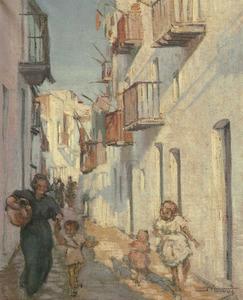 <em>Racó típic de sa Penya</em>, oli sobre tela de Josep Tarrés Palau (1941, 31 x 46 cm).