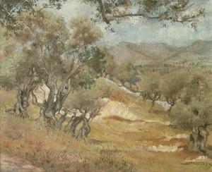 <em>Paisatge. Oliveres</em>, de Josep Tarrés Palau (57 x 46 cm), oli sobre tela.