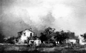Una obra de James Taylor, pintor anglès resident durant molts d´anys a Eivissa. Foto: arxiu de Marià Planells Cardona.