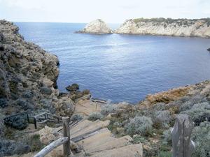 Al fons, l´esplanada coneguda com sa Torrassa, que tanca per tramuntana cala Vedella. Foto: Felip Cirer Costa.