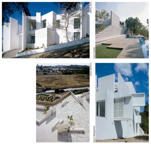 Diverses intervencions arquitectòniques d´Elies Torres Tur: d´esquerra a dreta i de dalt a baix, la casa Gili (1985), a Santa Eulària des Riu; la casa Boenders, a Sant Antoni de Portmany (1979); el Jardí de les Eres, a Sant Francesc Xavier (1997), i la casa Vicent Marí, a Santa Eulària des Riu (1990).