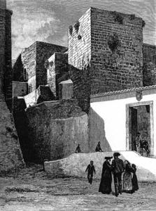La plaça de la Catedral, a l´edat mitjana, es coneixia com a plaça de sa Torreta. Gravat de Gaston Vuillier.