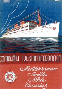 Cartell de l´any 1935 de la companyia Trasmediterránea. Cortesia de Josep Torres.