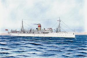 El vaixell <em>Rey Jaime I</em>, de la companyia Trasmediterránea. Foto: cortesia de Josep Torres.