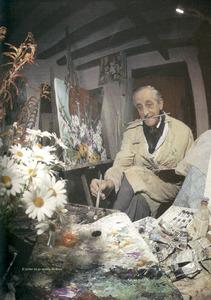 El pintor Marià Tur de Montis en el seu estudi.