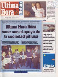 El primer n&uacute;mero del diari <em>&Uacute;ltima Hora</em> edici&oacute; de les Piti&uuml;ses (1 d´agost de 1997).