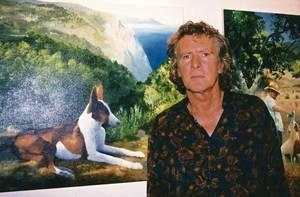 """El pintor anglès Peter Unsworth en una exposició a Sant Joan de Labritja el 2003. Foto: Vicent Ribas """"Trull""""."""