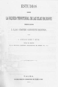Portada del llibre que Casimir Urech Cifre publicà sobre les Balears a mitjan s. XIX.