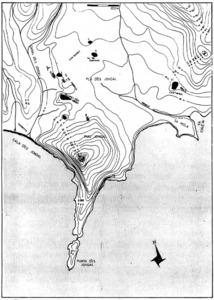 Plànol de la punta des Jondal, amb el jaciment punicoromà de Ca n´Úrsul. Extret d´<em>Els monuments antics de les illes Pitiüses.</em>
