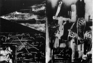 Serigrafia<em> Plurima su legno</em> d´Emilio Vedova, amb intervenció directa (71 x 100 cm.), 1978/79. Foto: Extret de <em>IX Biennal</em>.