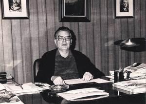 El polític i editor Joan Verdera Ribas en el seu despatx de la gerència de <em>Diario de Ibiza</em>. Foto: arxiu Sánchez Ferreiro.
