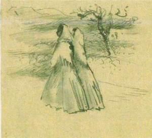 Dibuix de temàtica eivissenca d´Esteban Vicente Pérez. Cortesia del Museu d´Art Contemporani Esteban Vicente de Segòvia.