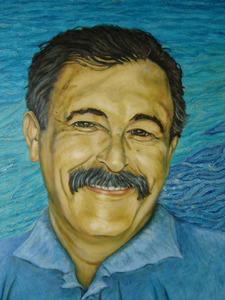 El periodista Llorenç Vidal Ros, que també fou gerent del Patronat Municipal de Turisme de Formentera, en un detall de l´oli sobre tauler marí (100 x 61 cm.), encàrrec de l´Ajuntament de Formentera, realitzat per Teresa Matilla.
