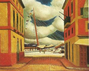 <em>Carrer del port</em> (Eivissa 1948), oli sobre tela, 60 x 73 cm. de Miquel Villà Bassols. Cortesia de l´Arxiu Villà.