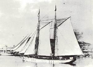 El pailebot <em>Villa de San Antonio</em> al port de Barcelona. Foto: arxiu de Pere Vilàs Gil.