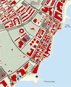 Plànol de la barriada de la ciutat d´Eivissa coneguda com es Viver. Elaboració: José F. Soriano Segura / Antoni Ferrer Torres.