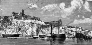 Gravat del llibre de Gaston Vuillier publicat el 1893, fruit del viatge a les Balears realitzat el 1889. Extret de <em>The forgotten isles.</em>