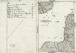 La Xanga. Mapa del lloc on es calava l´almadrava al s. XVIII. Foto: Arxiu General de Simancas.