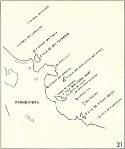Mapa de Cosme Aguiló de la costa de sa Roqueta, as Pujols, amb l´escull des Xebel·lins.