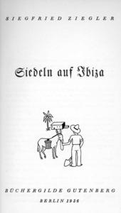 Portada de l´edició de 1936 de la novel·la ambientada a Eivissa de Siegfried Ziegler.