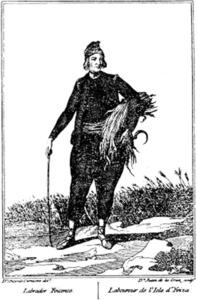 Agricultura. Pagès eivissenc segons una làmina de 1777 de Juan de la Cruz i Antonio Carnicero, publicada a l´obra <em>Trajes de España</em>.