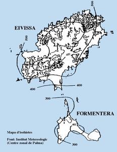 Aigua. Mapa d´isohietes d´Eivissa i Formentera. Elaboració: Institut Meteorològic (Centre Zonal de Palma).