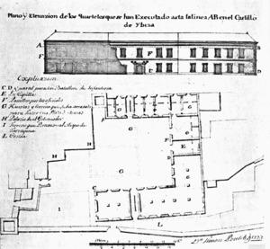 Impost d´allotjament. Plànol i elevació del quarter per a un batalló d´infanteria, construït al castell el 1727, per l´enginyer Simon Poulet. Extret de <em>Las murallas de Ibiza</em>.