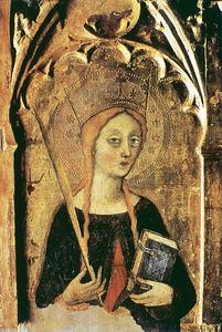 Art. Santa Tecla, segons un quadre de Francesc Comes, del s. XIV. Catedral d´Eivissa.