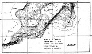 Batial. Carta batimètrica del mar Balear (part sud), segons Mauffret (1976).