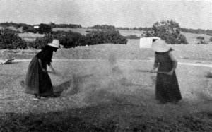 Batre. Dues pageses formentereres batent. Ventament del gra, prop de l´església del Pilar, a la Mola, el juliol de 1948. Extret de <em>Formentera. Estudi de geografia humana</em>.