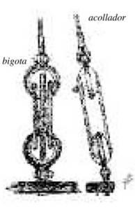 Esquema del conjunt d´un acollador i una bigota, segons un dibuix d´Antoni Prats Calbet.