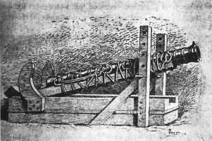 Una bombarda del s. XIV. Extret de <em>Las murallas de Ibiza</em>.