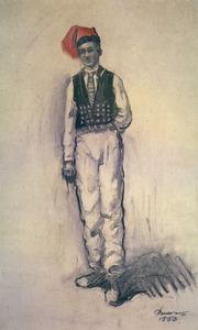 A la imatge, un pagès amb calçons de punxa, segons un dibuix d´Antoni Pomar. Cortesia de l´Ajuntament d´Eivissa.