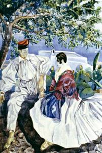 Home amb una camisa (aquarel·la anònima de 1933). Foto: Escuela Madrileña de Cerámica.