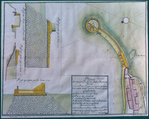 Els vaixells que ancoraven al port havien de pagar l´arbitri del dret de cap de pont. (Plànol d´una part del raval i del port d´Eivissa amb el projecte que s´havia d´executar des de la torre del Mar; Palma, 1752, Arxiu General de Simancas. MP i D-VII-152. Marina, lligall 391). Imatge: cortesia de l´Arxiu Històric Municipal d´Eivissa.