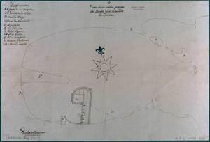 El capità del port havia d´examinar plànols del port i reconèixer-lo palm a palm. Projecte de la nova planta del port principal de l´illa d´Eivissa (Eivissa, 12 de desembre de 1751; Arxiu General de simancas; M P i D XVIII-135. Marina, lligall 391). Cortesia de l´Arxiu Històric Municipal d´Eivissa.