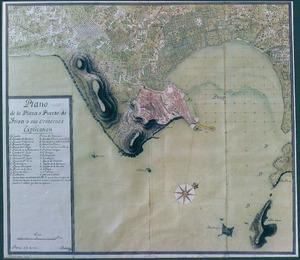 Capità del port. Plànol de la vila i del port d´Eivissa i dels seus voltants. Palma 1752 (Arxiu General de Simancas, M P i D-I-26; Maqrina, lligall 391). Cortesia de l´Arxiu Històric Municipal d´Eivissa.