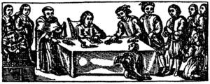 La redempció de captius, segons una capçalera d´un full siscentista de propaganda mercenària (Arxiu Històric de Barcelona). Extret del <em>Costumari català</em> / Joan Coromines.