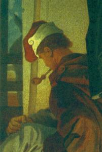 Un pagès amb un caputxo (detall d´un gravat del s. XIX). Extret de <em>Les antigues Pitiüses</em>.