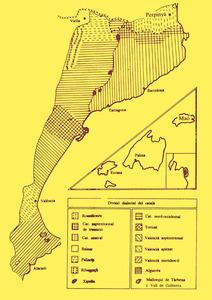 Mapa dialectal del catal¡a, extret d´<em>Els parlars catalans </em>de Joan Veny.