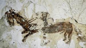 Representació d´un home muntat a cavall a una paret d´una casa pagesa; grafit datat en el s. XVIII. Foto: Antoni Ferrer Abárzuza.