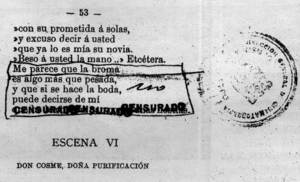 Un fragment d´una obra de teatre representada a Eivissa, amb supressions fetes per la censura.