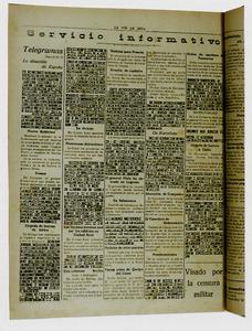 Aquesta pàgina del periòdic <em>La Voz de Ibiza</em> corresponent als dies en què començà la Guerra Civil Espanyola mostra l´efecte de la censura militar. Foto: Arxiu Municipal d´Eivissa / Hemeroteca.