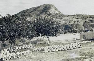 Gerres i cossis fets a la gerreria d´en Nicolau, Cala Llonga, posats a secar. Foto Cabrerizo.