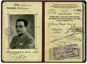 Conservadorisme. Passaport de diputat en Corts pertanyent a Cèsar Puget Riquer, representant eivissenc per la CEDA durant la Segona República Espanyola. Cortesia de Guillermina Puget Acebo.