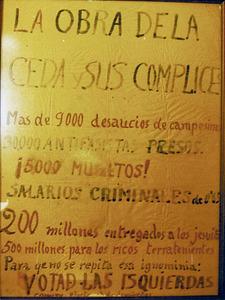 Conservadorisme. Cartell manuscrit de l´època de la Segona República en què es critica la CEDA. Arxiu Històric Municipal d´Eivissa.